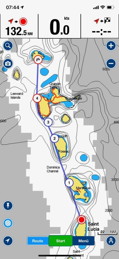 Die Seekarte mit der Route der Segelyacht escape von St. Lucia nach Antigua über insgesamt 6 verschiedene Inseln